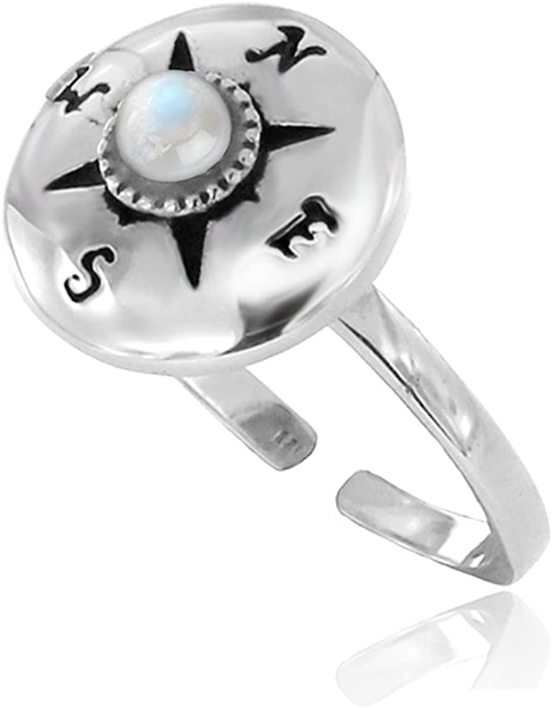 925 Sterling Silver Round White Moonstone Gemstone North East South West Compass Ring, Sizes 5-8
