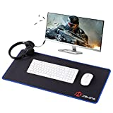 Eligoo Gaming Mouse Pad 700x300mm Dimension Desk Keyboard Mat with Stitched Edges Non Slip Rubber Base Mouse Mat Funny for Laptop PC Computer (Blue Side)