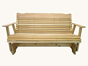 5 Foot Natural Cedar Porch Glider, Amish Crafted