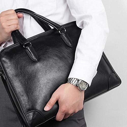 JUROUXIYUJIN Mens Genuine Leather Briefcase Simple Mens Bag Simple Top Layer Leather Business Briefcase Practical Mens Handbag Color : Black