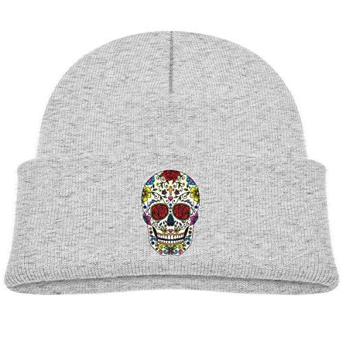 Kids Knitted Beanies Hat Sugar Skull Art Winter Hat Knitted Skull Cap for Boys Girls Gray]()