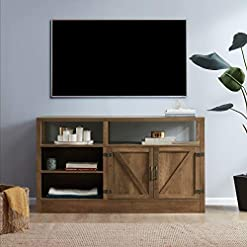 Farmhouse Living Room Furniture BELLEZE Preston 57 Inch TV Stand for TV's Up to 65″ Living Room Storage Cabinet Shelves Media Console, Rustic Oak farmhouse tv stands