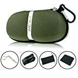 Sunglasses Cases,Semi Hard Portable compressive Strength Travel Zipper Eyeglass Cases with Carabiner. (Army Green)