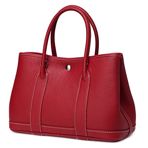 Macton Genuine leather cowskin garden bag Women shoulder Bag MC-9016 (36CM, Wine Red) by Macton