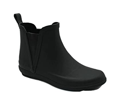 Women's Ladies Short Ankle High Rain Winter All Rubber Black Boots Booties Waterproof All-Weather