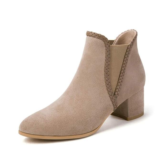 HGDR Para Mujer De Gamuza Negro Beige Botines De Tobillo Tacón Medio Zapatos De Oficina Zapatos Casual Para Mujer Zapatos De Fiesta Elegantes Botines: ...