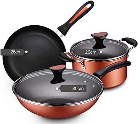 3 Pieces Induction Pan Set Non Stick Saucepan Set Kitchen Cookware Pot Gas Hobs