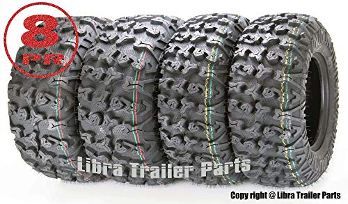 - Set of 4 Premium FREE COUNTRY ATV/UTV Tires 25x8-12 Front & 25x10-12 Rear / 8PR w/Side Scuff Guard