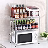 Chuan Han Kitchen Microwave Rack Oven Shelf Seasoning Organizer Stainless Steel Multifunction Home Accessories Save Space Storage 2 Layer 2 Size, b