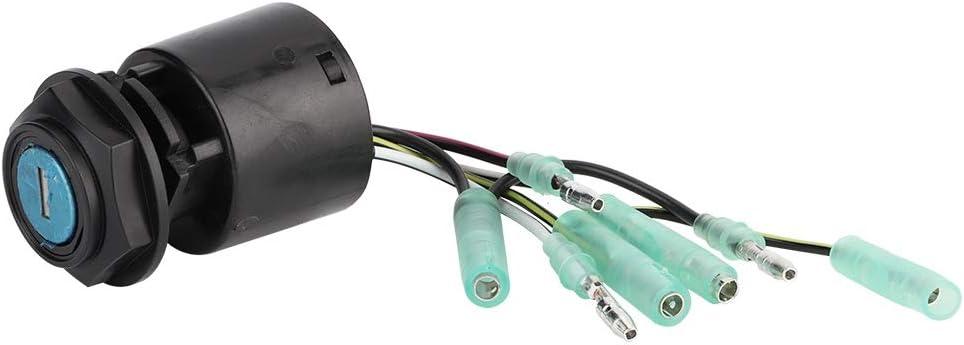 KIMISS Interruttore a chiave di accensione per barca interruttore a chiave per avviamento di accensione adatto per 35100-ZV5-013 nero