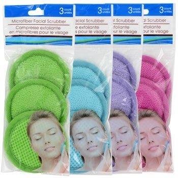 24 Microfiber Spa Facial Scrubbers,8 X 3-ct. Packs Random Colors by Microfiber facial scrub
