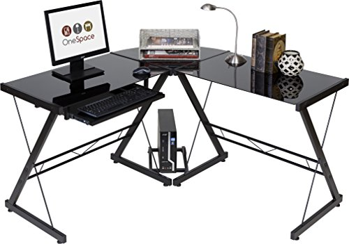 OneSpace Ultramodern Glass L-Shape Desk, Black