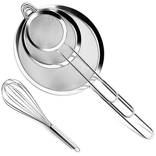 Fine Mesh Strainer Wire Kitchen Colander Sieve Food Rim Premium Stainless Steel for Pasta Rice Vegetable Sifting Flour Sugar Tea Icing,Set of 3