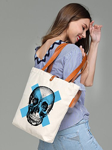 So'each Women's Cool Skull Sketch Graphic Top Handle Canvas Tote Shoulder Bag