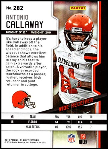 Amazon.com  2018 Panini Playoff Goal Line  282 Antonio Callaway Rookie  NM-MT Cleveland Browns Official NFL Football Card  Collectibles   Fine Art 868e6a6c8