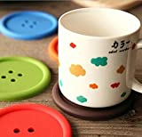 Drhob 3pcs Silicone Coffee Placemat Button Coaster Cup Mug Glass Beverage Holder Pad Mat (multicolor random)