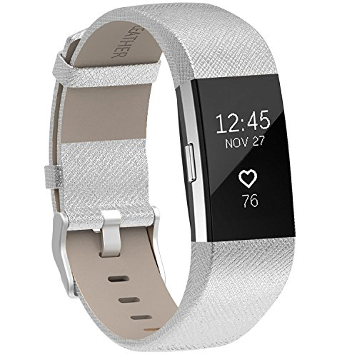 Henoda Replacement Bands Compatible with Fitbit Charge 2, Classic Genuine Leather Charge 2 Band Fitness Wristband for Women Men Small Large Silver