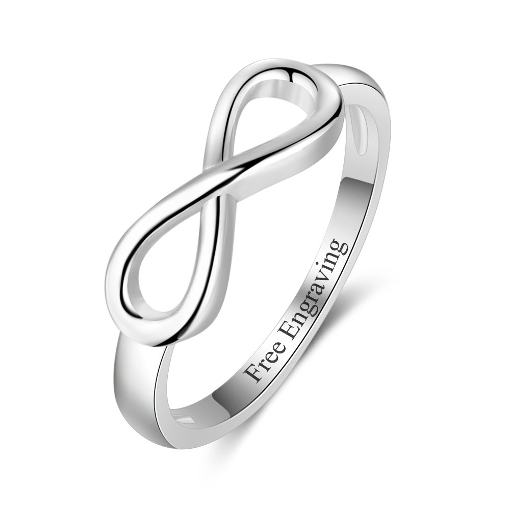 Free Engraving Infinity Knot BFF Friendship Rings for Women Personalized Sterling Silver Sisters Best Friends Rings Engagement Wedding Bands Promise Name Rings Valentines Day Jewelry for Women