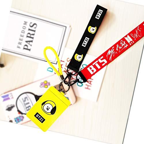 eKoi Kpop Lanyard ID Card Badge Holder Bantan Boy BTS Keyring Keychain Clip Detachable Neckhanger Phone Wrist Strap Merchandise Souvenir Set for Army (CHIMMY) ()