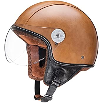 Woljay Leather Motorcycle Vintage Half Helmets Motorcycle Biker Cruiser Scooter Touring Helmet (M, Brown)