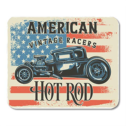 Emvency Mouse Pads American of Hot Rod Raster Copy Antique Auto Automotive Burning Car Mousepad 9.5