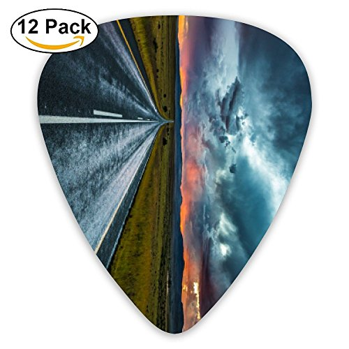 Road Marking Evening Clouds Horizon Guitar Pick 0.46mm 0.73mm 0.96mm 12pack,Suitable For All Kinds Of Guitars ()