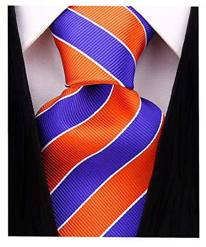 College Striped Ties for Men - Woven Necktie - Orange ()