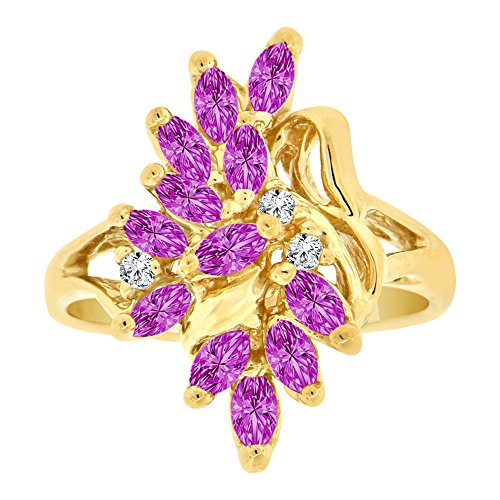14k Yellow Gold Violet (14k Yellow Gold, Classic Leaf Cluster Ring Violet CZ Feb Synthetic Birthstones Size 5)