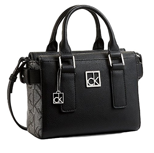 Calvin Klein Cassidy Logo Studio Satchel Crossbody Bag Handbag (black)