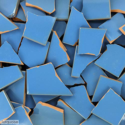 5 Pounds of Broken Talavera Mexican Ceramic Tile in TURQUOISE Solid Color (Ceramic Tiles Turquoise)