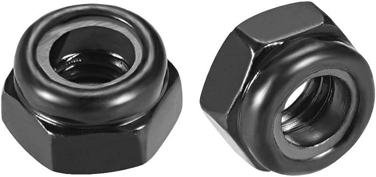 M8 8mm NUTS ZINC PLATED NYLON INSERT LOCK METRIC NUT PACK 10 25 50 DIN 985 STEEL