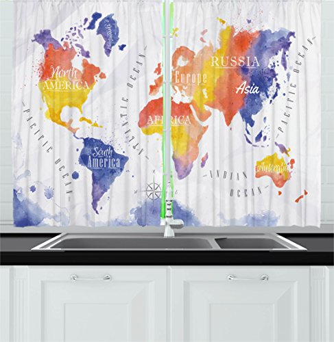 Ambesonne Modern Decor Kitchen Curtains, Watercolor Style Wo