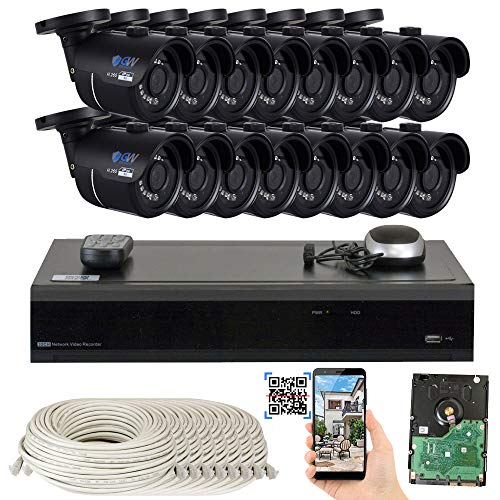 GW 16 Channel H.265 4K NVR 8-Megapixel Security Camera System, 16pcs 8MP PoE 3.6mm Wide Angle Waterproof Bullet 4K IP Cameras, 4TB Hard Drive