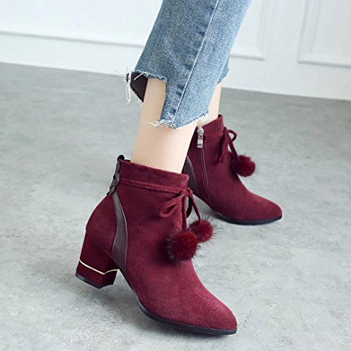 Bootie AIYOUMEI Winter Hairball Nubuck with Winered Ankle Autumn Block Women's Heel Toe Boots Round 1qAw4