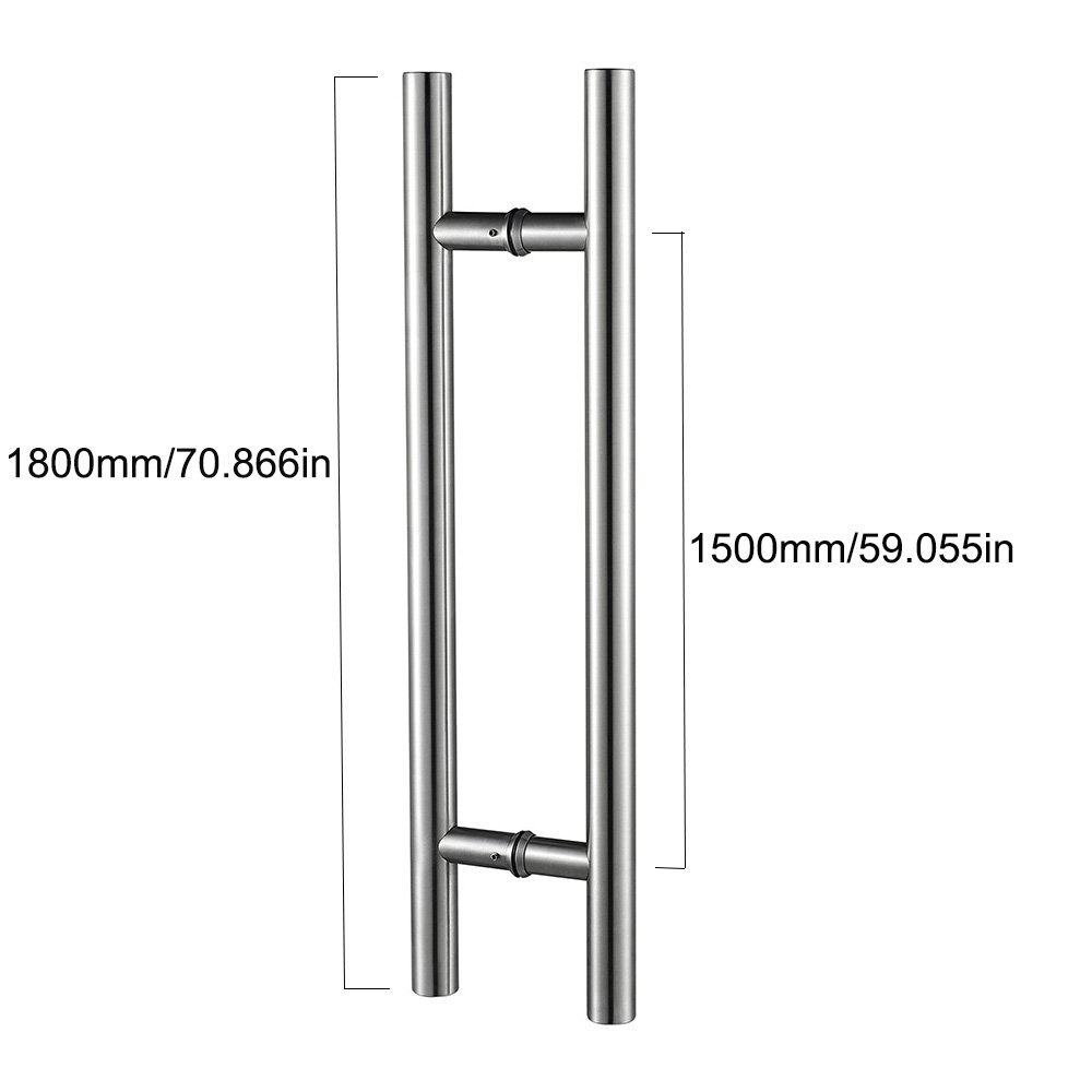T Bar Pull Handle Bolt Through 32 x 1800mm Overall Satin Stainless Steel
