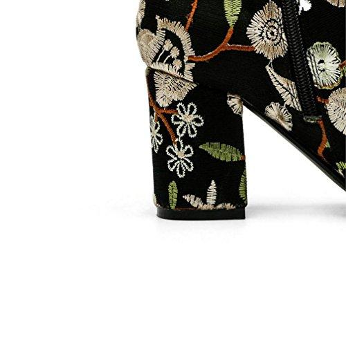 Scarpe Punta Con Camoscio Migliore 4u Fiore Da Rotonda Scamosciata Pelle Alto Ricamo In Tacco Giallo Il Stivali Donna Nero Invernali Fqw4fFE