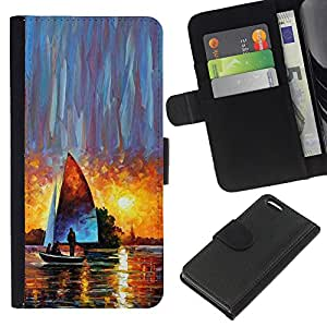 A-type (Sailing Ship Sunset Watercolor Art Sun) Colorida Impresión Funda Cuero Monedero Caja Bolsa Cubierta Caja Piel Card Slots Para Apple Iphone 5C