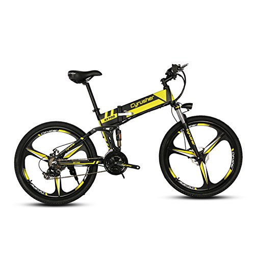 Cyrusher XF700 Folding Electric Bike 26 inch Mountain Bicycle Full Suspension 36V10.4AH Hidden Battery Shimano 21 Speeds Double Mechanical Disc Brake