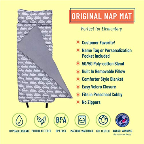 Wildkin Original Nap Mat with Pillow for Toddler Boys and Girls, Measures 50 x 20 x 1.5 Inches, Ideal for Daycare and Preschool, Mom's Choice Award Winner, BPA-Free, Olive Kids (Cars)