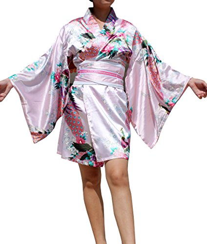 Full Funk Short Blended Chinese Silk Japanese Kimono Dress Outfit, Small, Pink