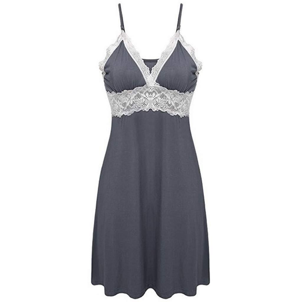 Women Lingerie V Neck Nightwear Sexy Lingerie Satin Sleepwear Lace Babydoll Mini Teddy Lace Chemise Wome Dress (M, Gray)