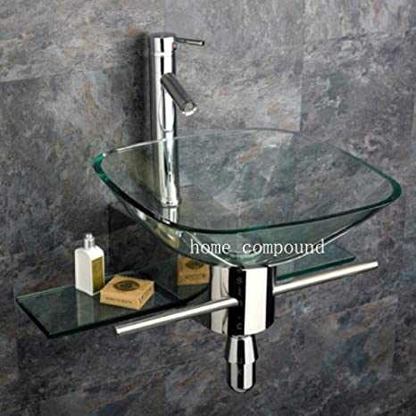 Discount Modern Bathroom Vanities Glass Vessel Sink Combo Set Wall