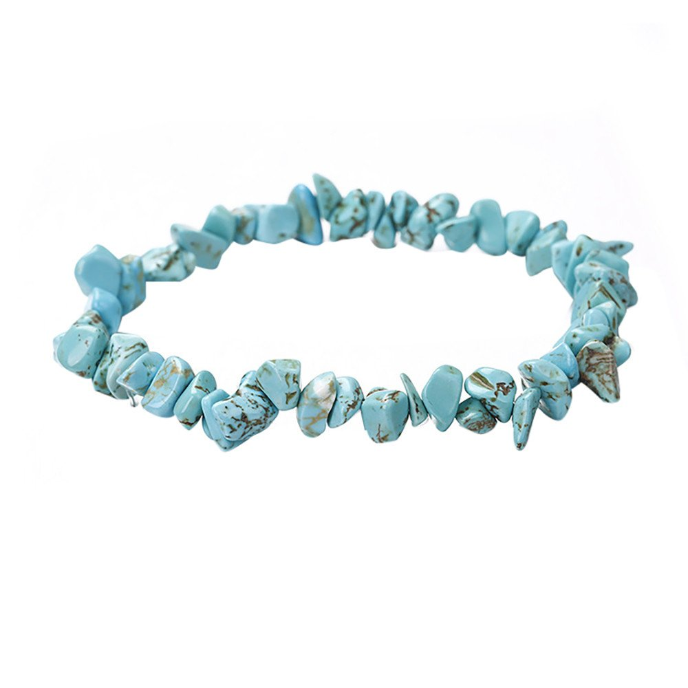 Yaseking Stone Bracelet, Natural Crystal Gravel Bracelet Handmade 5-8mm Mixed Natural Gemstone Chip Beads (E)
