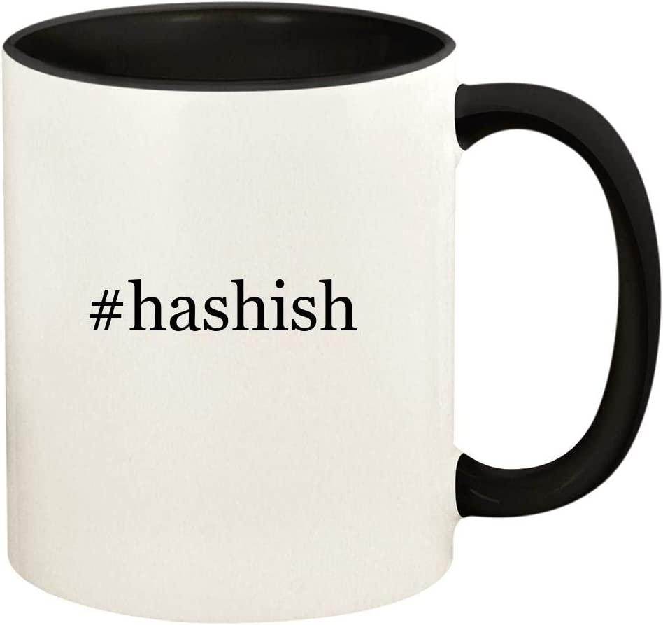 #hashish - 11oz Hashtag Ceramic Colored Handle and Inside Coffee Mug Cup, Black