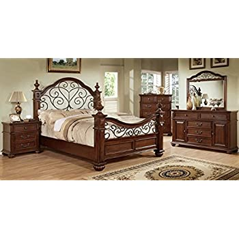Beau 5 Pc Landaluce Collection Transitional Style Antique Dark Oak Finish Wood  Queen Bedroom Set With A
