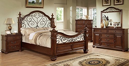 5 Pc Landaluce Collection Transitional Style Antique Dark Oak Finish Wood Queen Bedroom Set With A Floral Metal Design On Headboard And Footboard