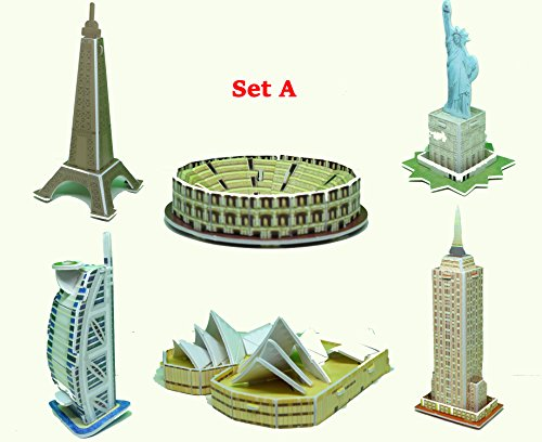 mini-3d-puzzles-architecture-set-of-6-style-easy-for-baby-3-years-set-a-eifel-tower-colosseum-statue