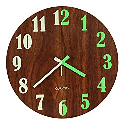 Vitaa Luminous Wall Clock, 12 inch Wooden Silent Non-Ticking Morden Wall Clocks with Night Lights for Indoor/Outdoor/Living Room/Bedroom/Kitchen Decor,Battery Operated (Brown)