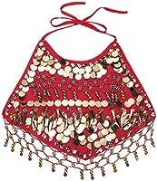 ACSUSS Girls Sequins Belly Dance Costumes Halter Crop Tops with Harem Pants Veil Bracelet Set