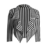 Janisramone ladies casual black white striped cropped waterfall blazer jacket coat Thin White Stripe ML